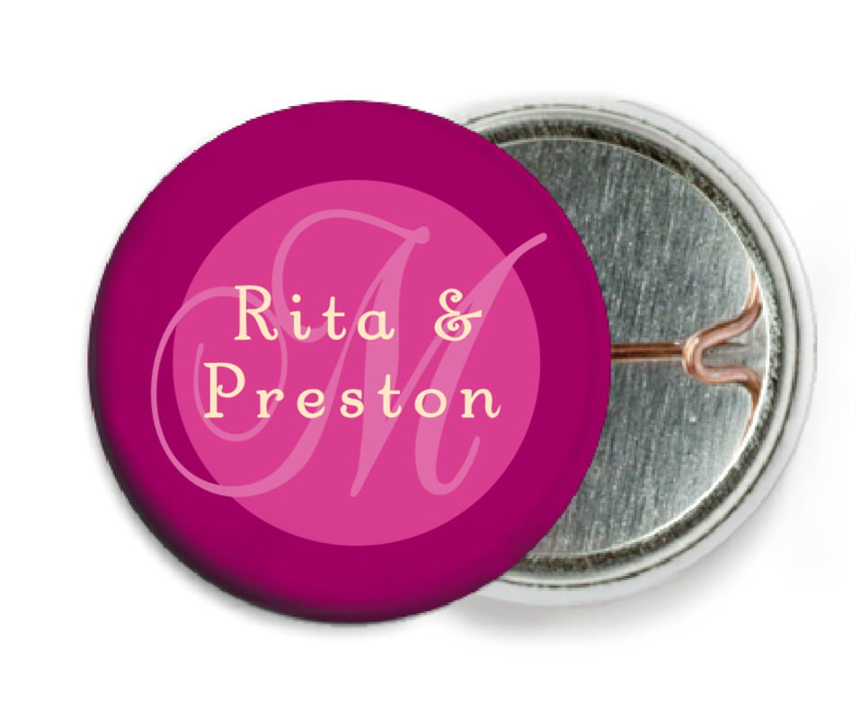 custom pin back buttons - bright pink - astor (set of 6)