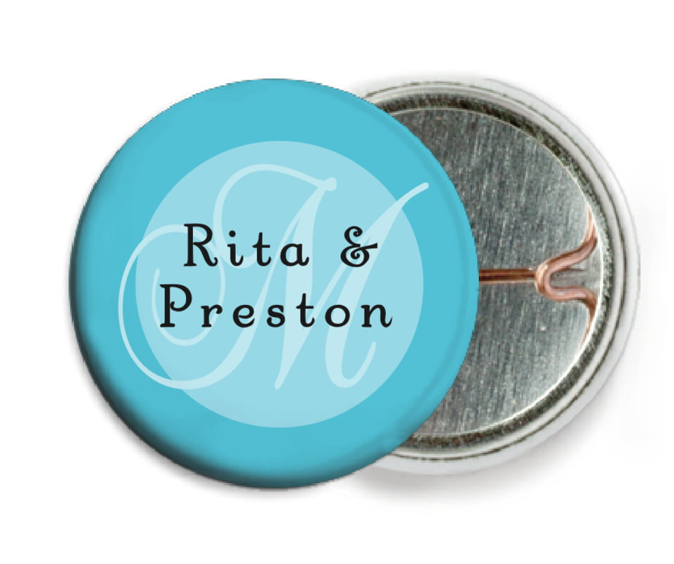 custom pin back buttons - bahama blue - astor (set of 6)