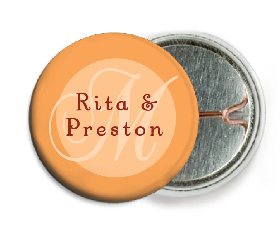 custom pin back buttons - tangerine - astor (set of 6)
