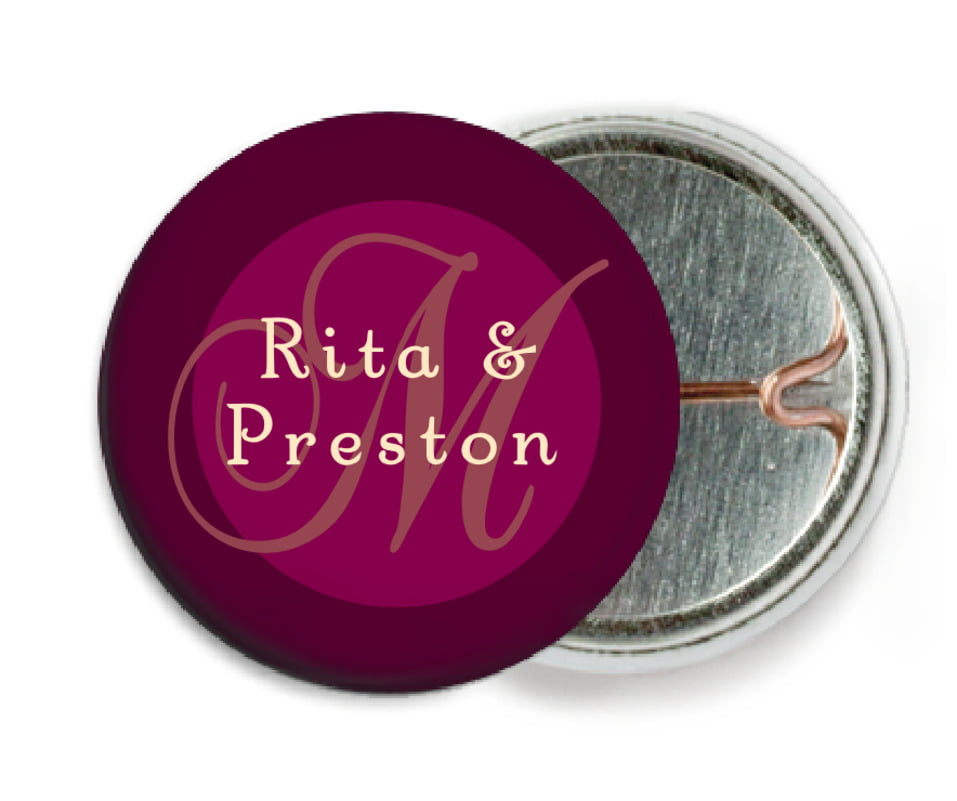 custom pin back buttons - burgundy - astor (set of 6)