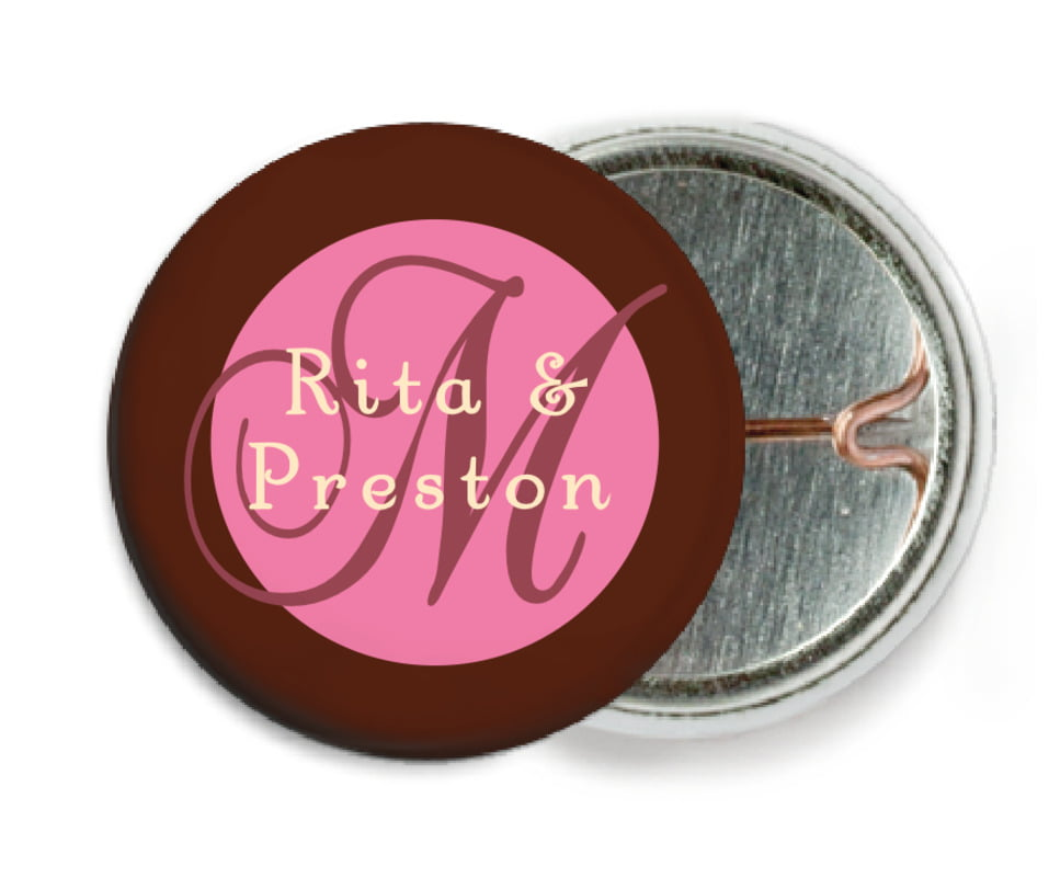custom pin back buttons - cocoa & pink - astor (set of 6)