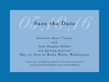 custom save-the-date cards - blue - astor (set of 10)
