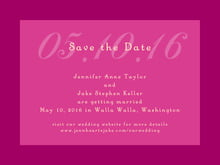 custom save-the-date cards - bright pink - astor (set of 10)