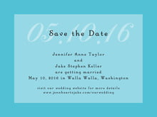 custom save-the-date cards - bahama blue - astor (set of 10)