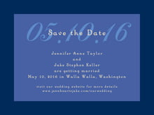 custom save-the-date cards - deep blue - astor (set of 10)