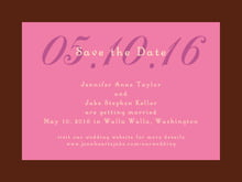 custom save-the-date cards - cocoa & pink - astor (set of 10)