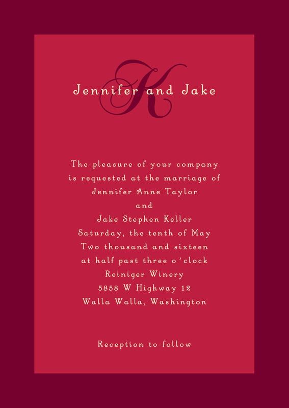 custom invitations - deep red - astor (set of 10)