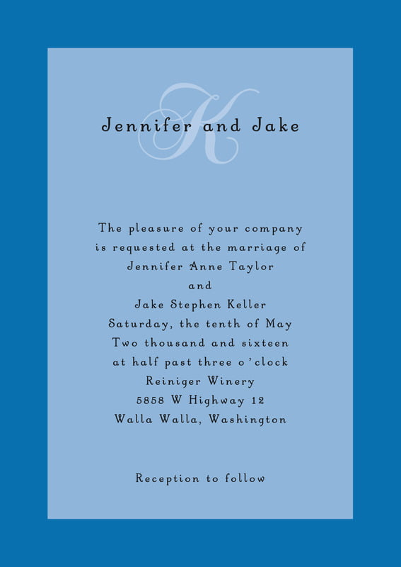 custom invitations - blue - astor (set of 10)