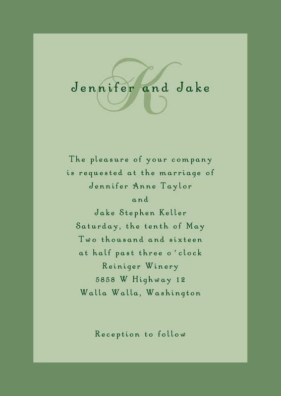 custom invitations - sage - astor (set of 10)