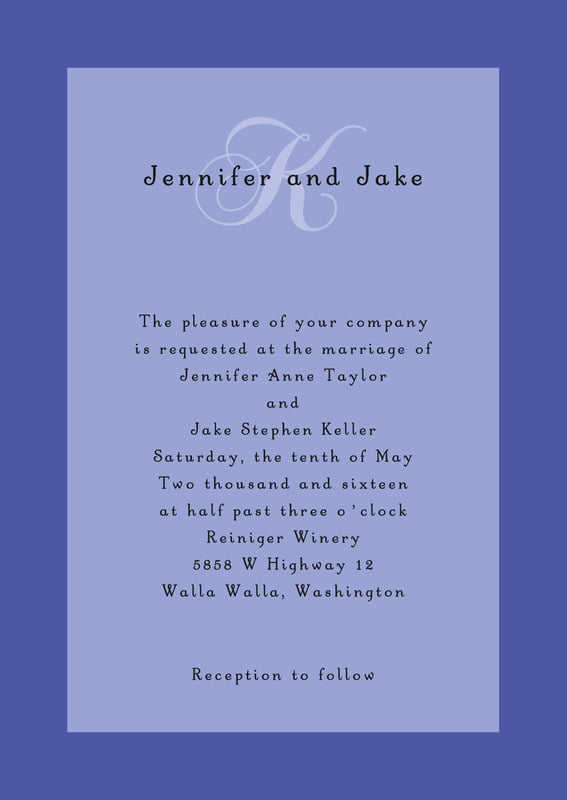 custom invitations - periwinkle - astor (set of 10)