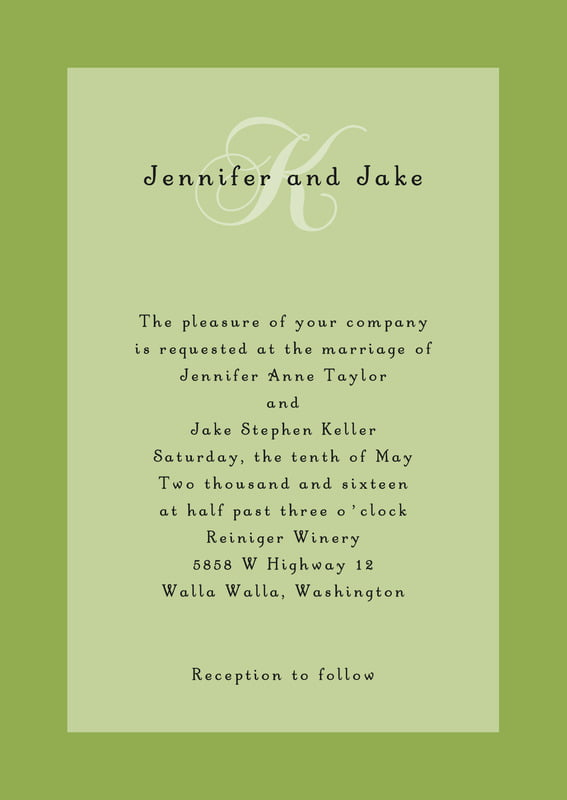 custom invitations - green tea - astor (set of 10)