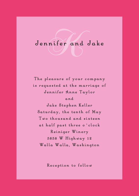 custom invitations - pale pink - astor (set of 10)