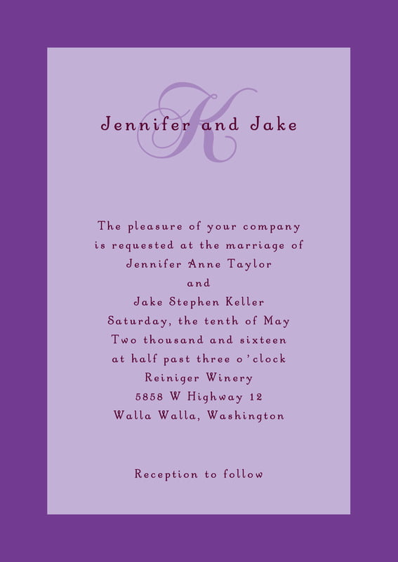 custom invitations - lilac - astor (set of 10)