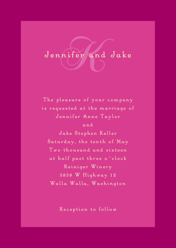 custom invitations - bright pink - astor (set of 10)