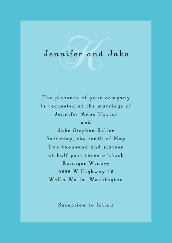 custom invitations - bahama blue - astor (set of 10)