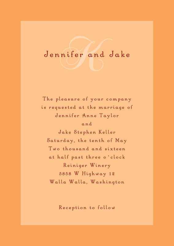 custom invitations - tangerine - astor (set of 10)