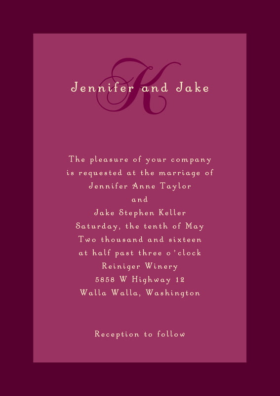 custom invitations - burgundy - astor (set of 10)