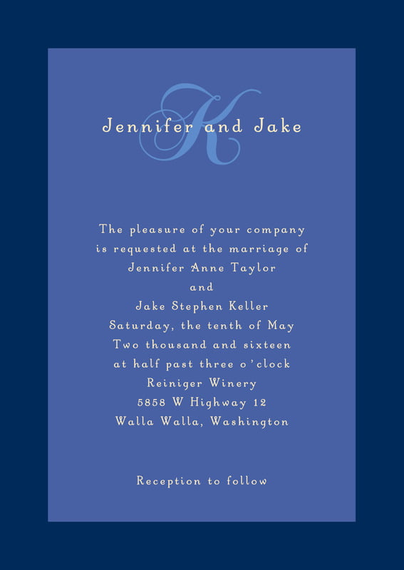 custom invitations - deep blue - astor (set of 10)