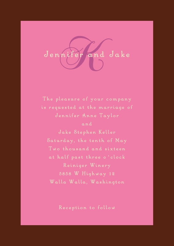 custom invitations - cocoa & pink - astor (set of 10)