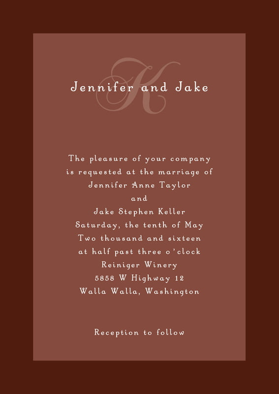 custom invitations - chocolate - astor (set of 10)