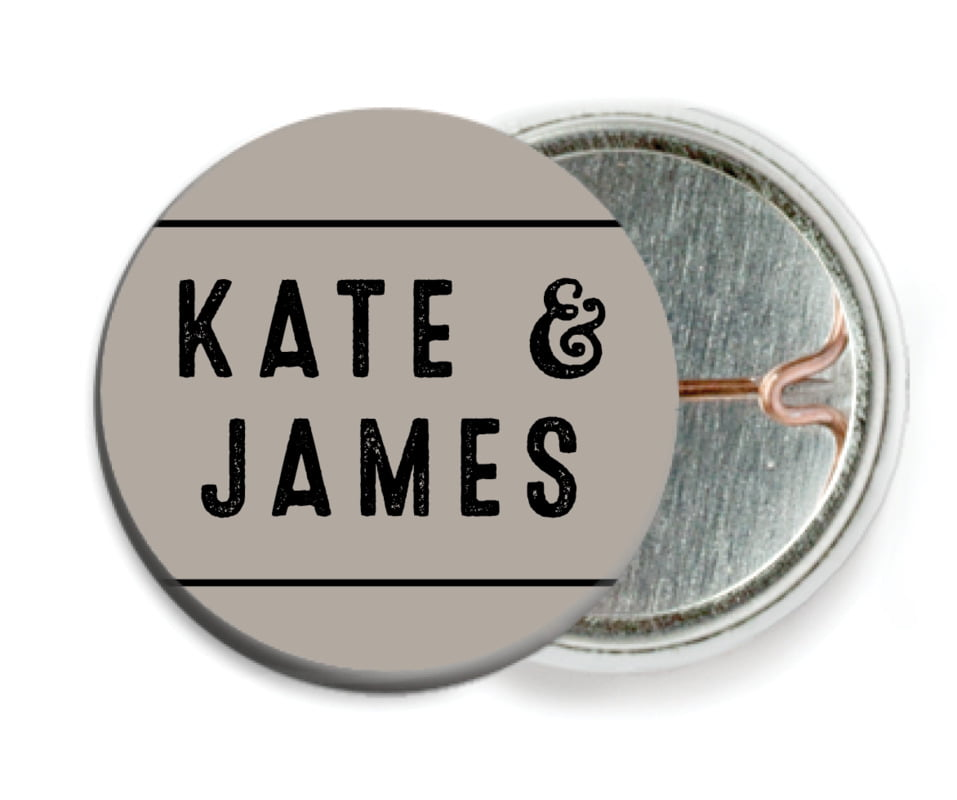 custom pin back buttons - warm grey - apothecary neat (set of 6)