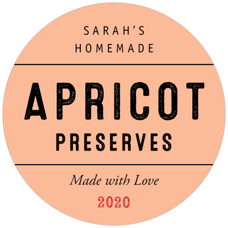 circle food/craft labels - peach - apothecary neat (set of 20)