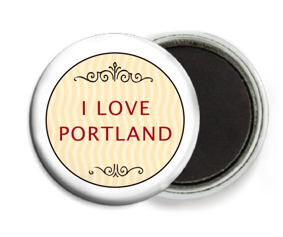 custom button magnets - red & gold - aunt lorraine (set of 6)