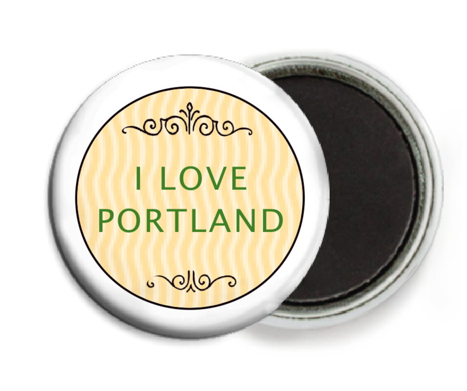 custom button magnets - lime & gold - aunt lorraine (set of 6)