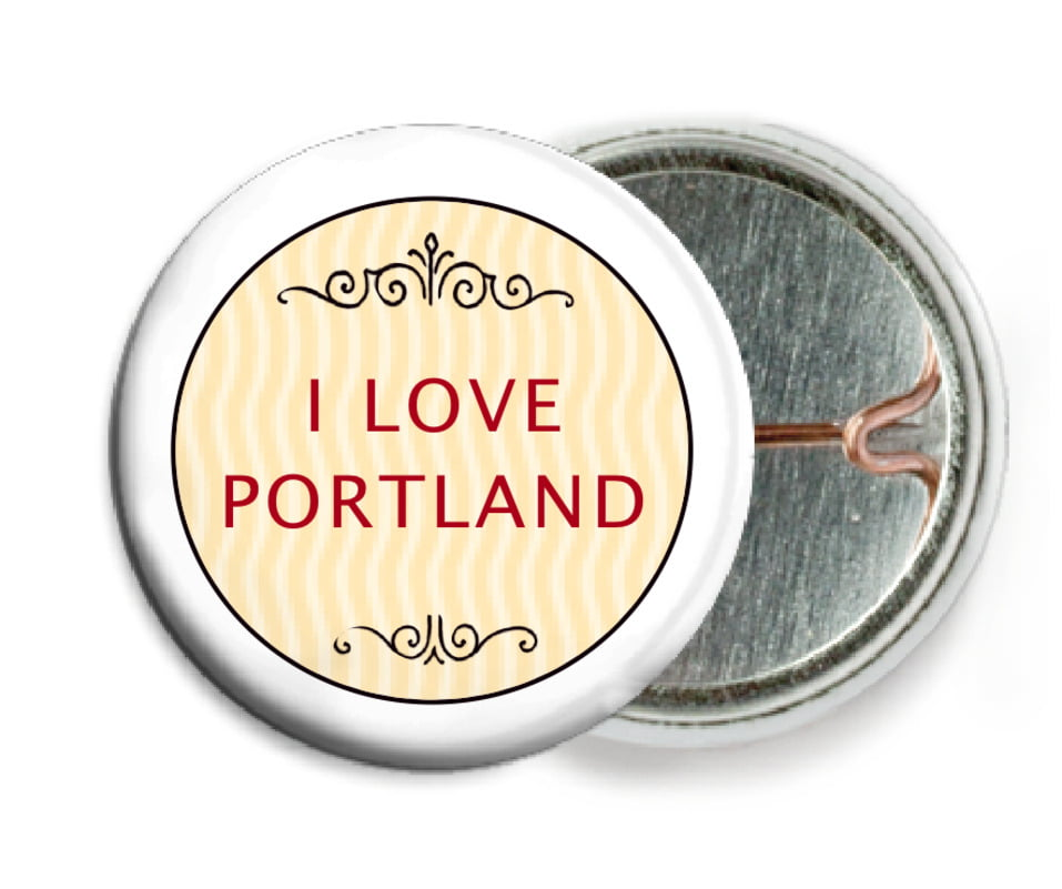 custom pin back buttons - red & gold - aunt lorraine (set of 6)