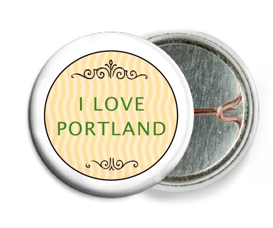 custom pin back buttons - lime & gold - aunt lorraine (set of 6)