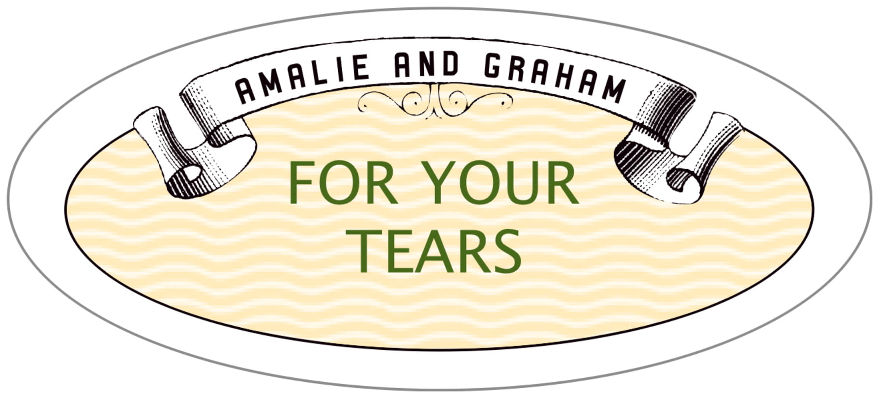 oval food/craft labels - lime & gold - aunt lorraine (set of 30)