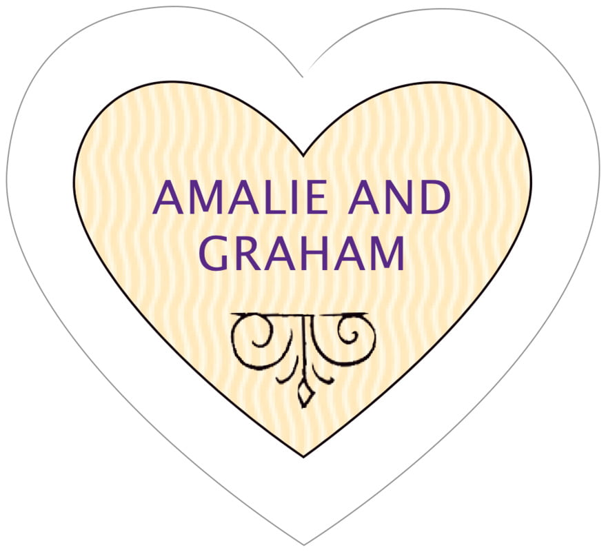 small heart food/craft labels - purple - aunt lorraine (set of 20)
