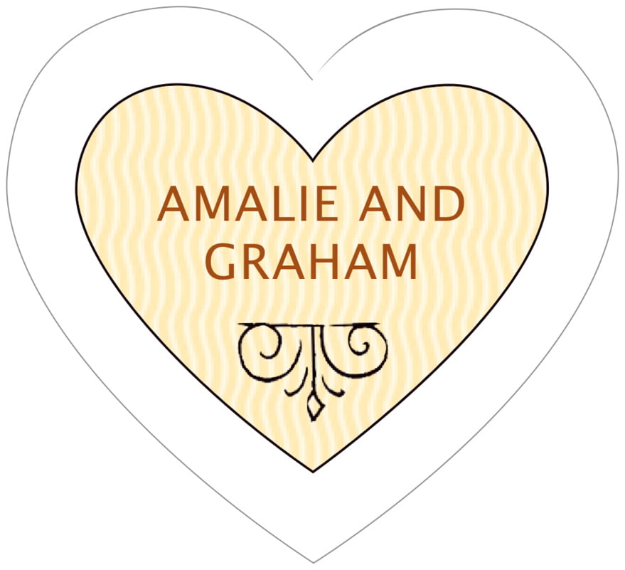 small heart food/craft labels - saddle brown - aunt lorraine (set of 20)