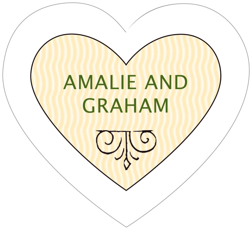 small heart food/craft labels - lime & gold - aunt lorraine (set of 20)