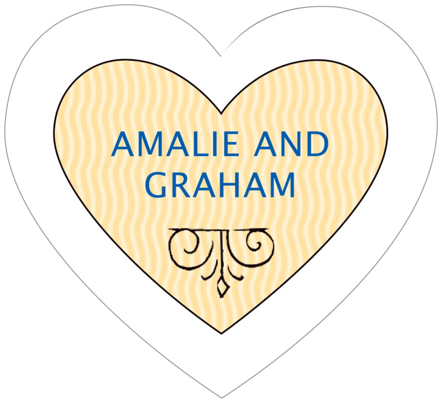 small heart food/craft labels - royal blue & gold - aunt lorraine (set of 20)