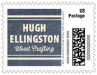 American Vintage Small Postage Stamp In Deep Blue