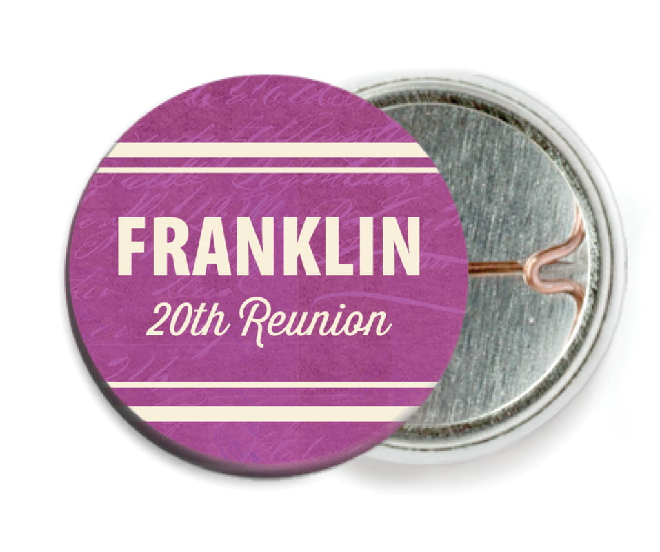 custom pin back buttons - radiant orchid - american vintage (set of 6)