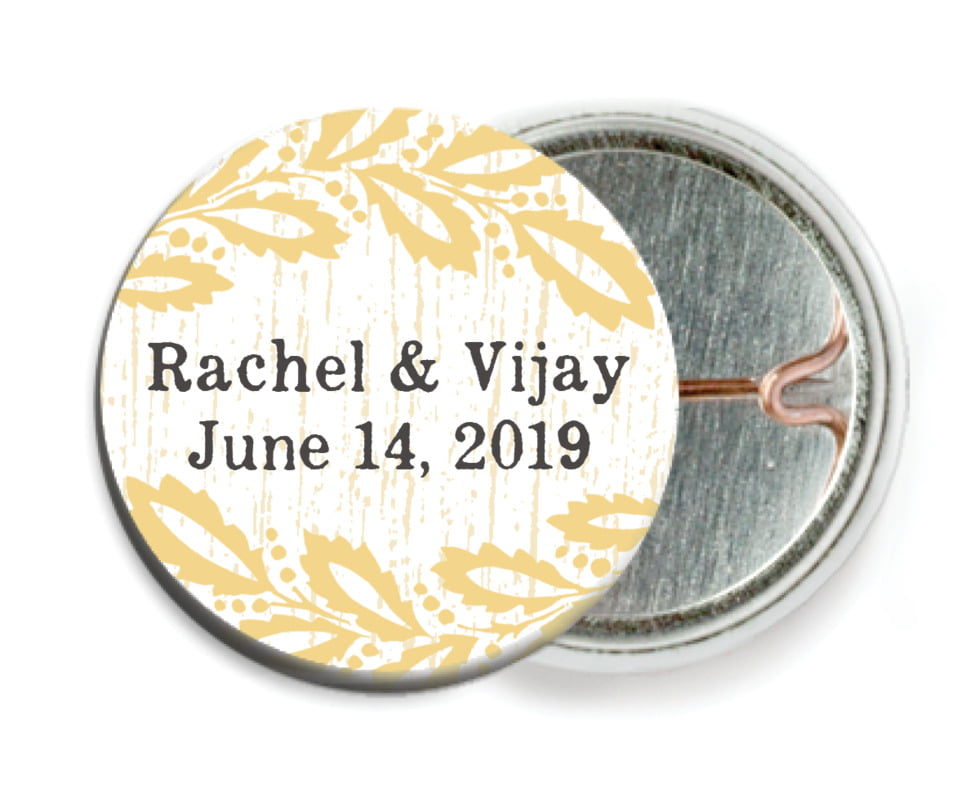 custom pin back buttons - pale gold - aurelian wreath (set of 6)