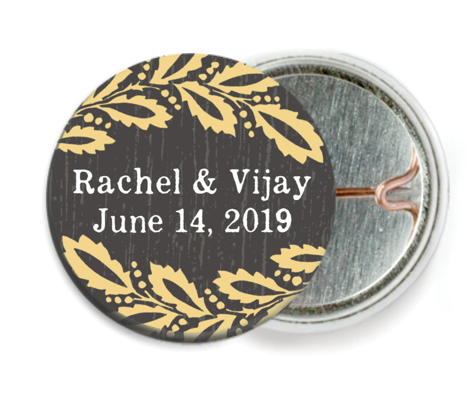 custom pin back buttons - tuxedo - aurelian wreath (set of 6)