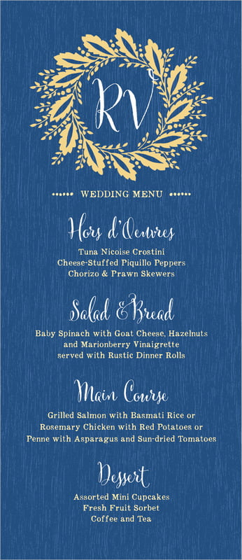 custom menus - royal blue - aurelian wreath (set of 10)
