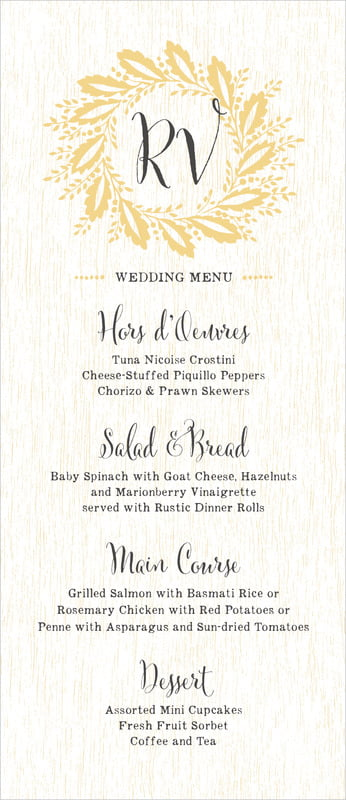 custom menus - pale gold - aurelian wreath (set of 10)