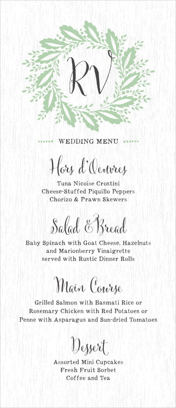 custom menus - mint - aurelian wreath (set of 10)