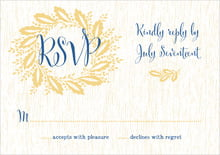 custom response cards - royal blue - aurelian wreath (set of 10)