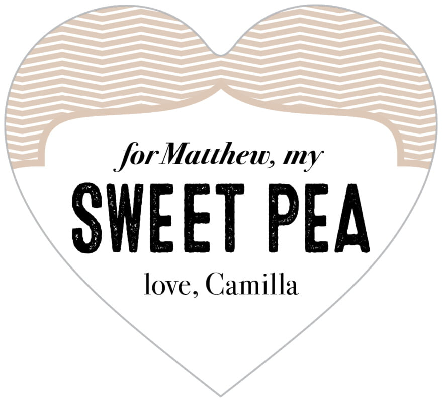 small heart food/craft labels - mocha - apothecary deluxe (set of 20)
