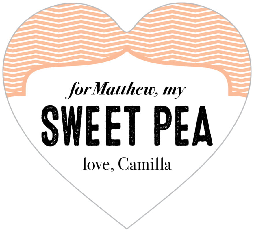 small heart food/craft labels - peach - apothecary deluxe (set of 20)