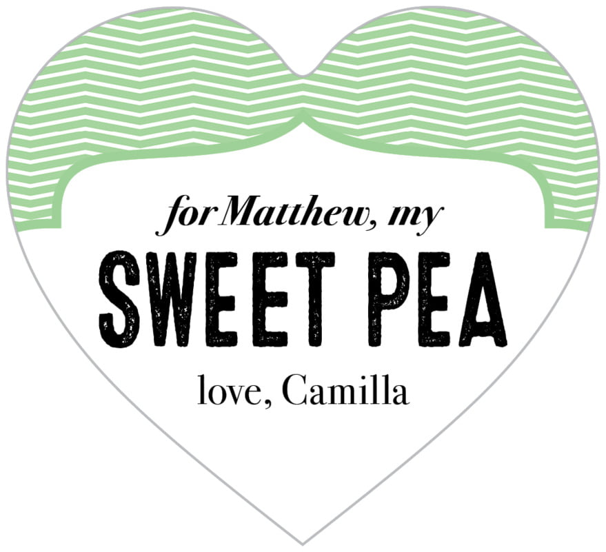 small heart food/craft labels - spring green - apothecary deluxe (set of 20)