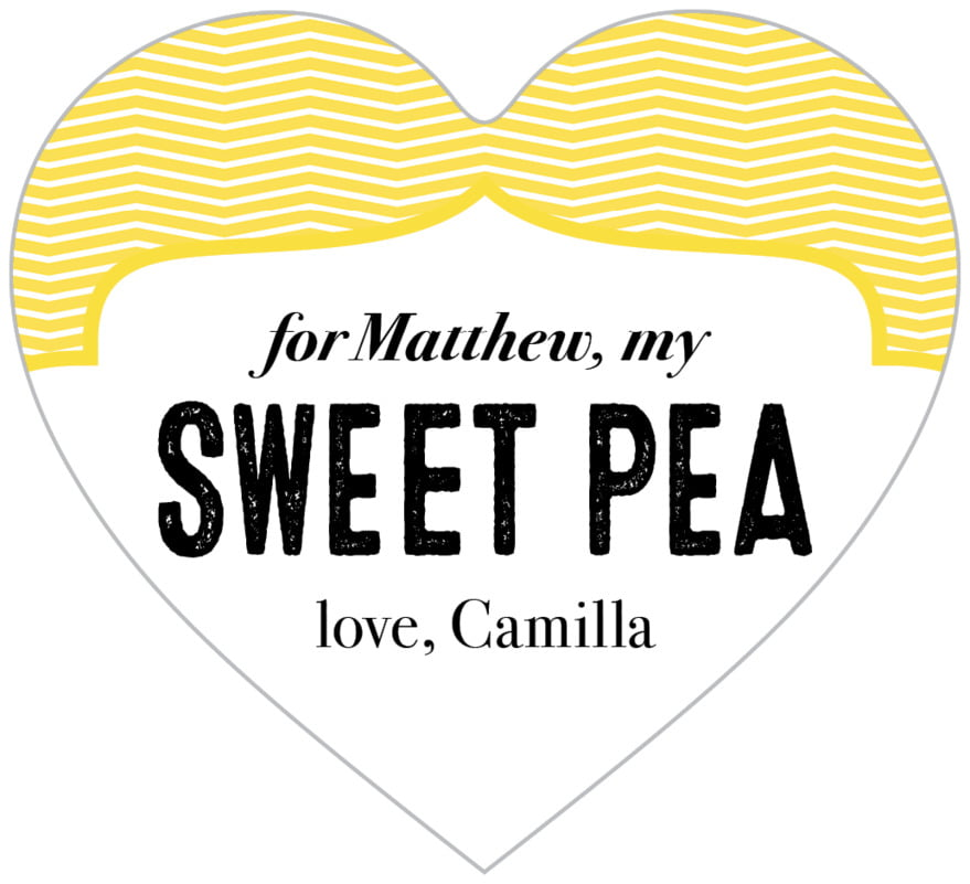 small heart food/craft labels - lemon - apothecary deluxe (set of 20)