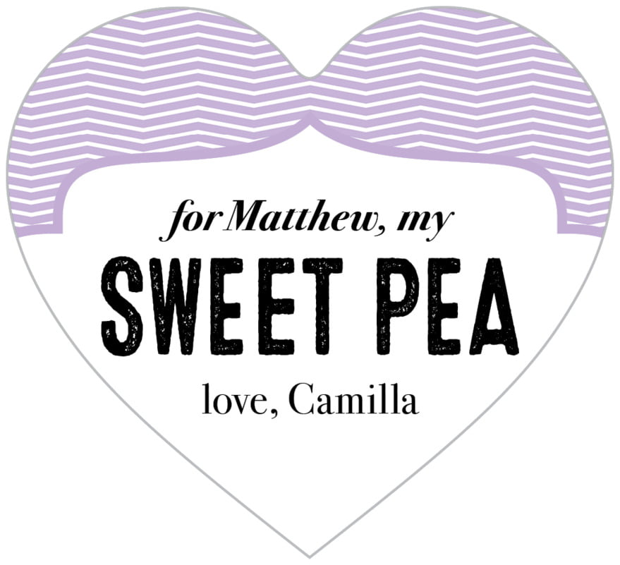 small heart food/craft labels - lilac - apothecary deluxe (set of 20)
