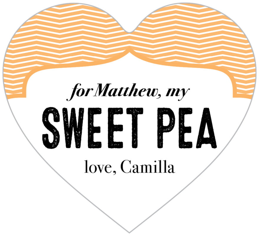 small heart food/craft labels - tangerine - apothecary deluxe (set of 20)