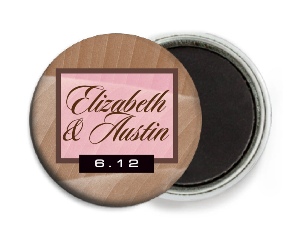 custom button magnets - cocoa & pink - bali (set of 6)